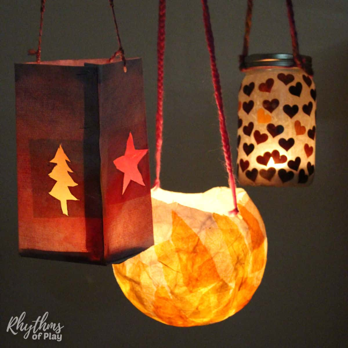 Three types of lanterns for lantern walk; paper, paper mache, and jar.
