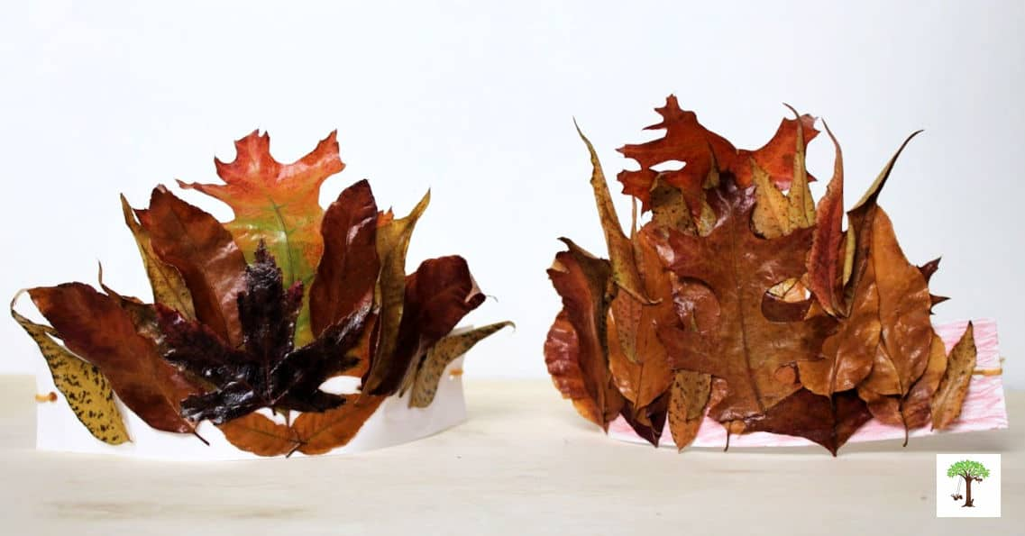 2 preserved fall leaf crowns made with real autumn leaves
