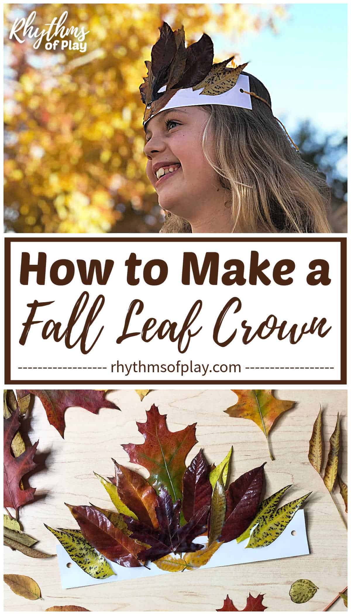 fall leaf crown craft for kids and adults with real autumn leaves