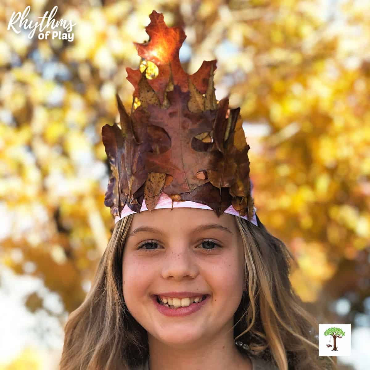 autumn leaf crown craft made with real fall leaves