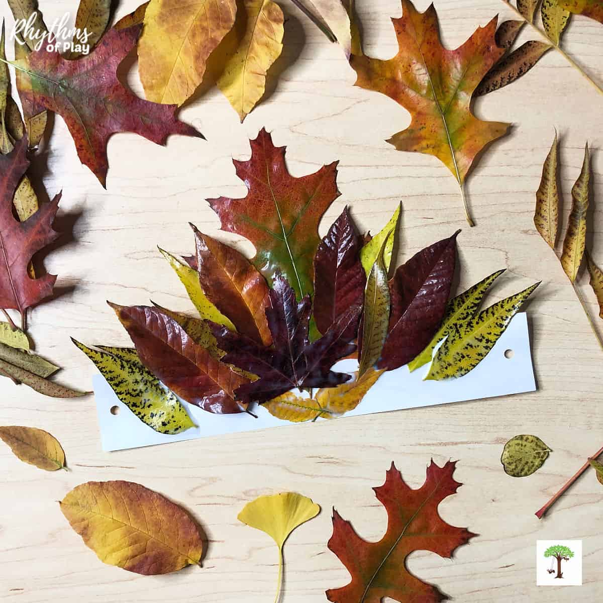 autumn leaf crown made with real fall leaves