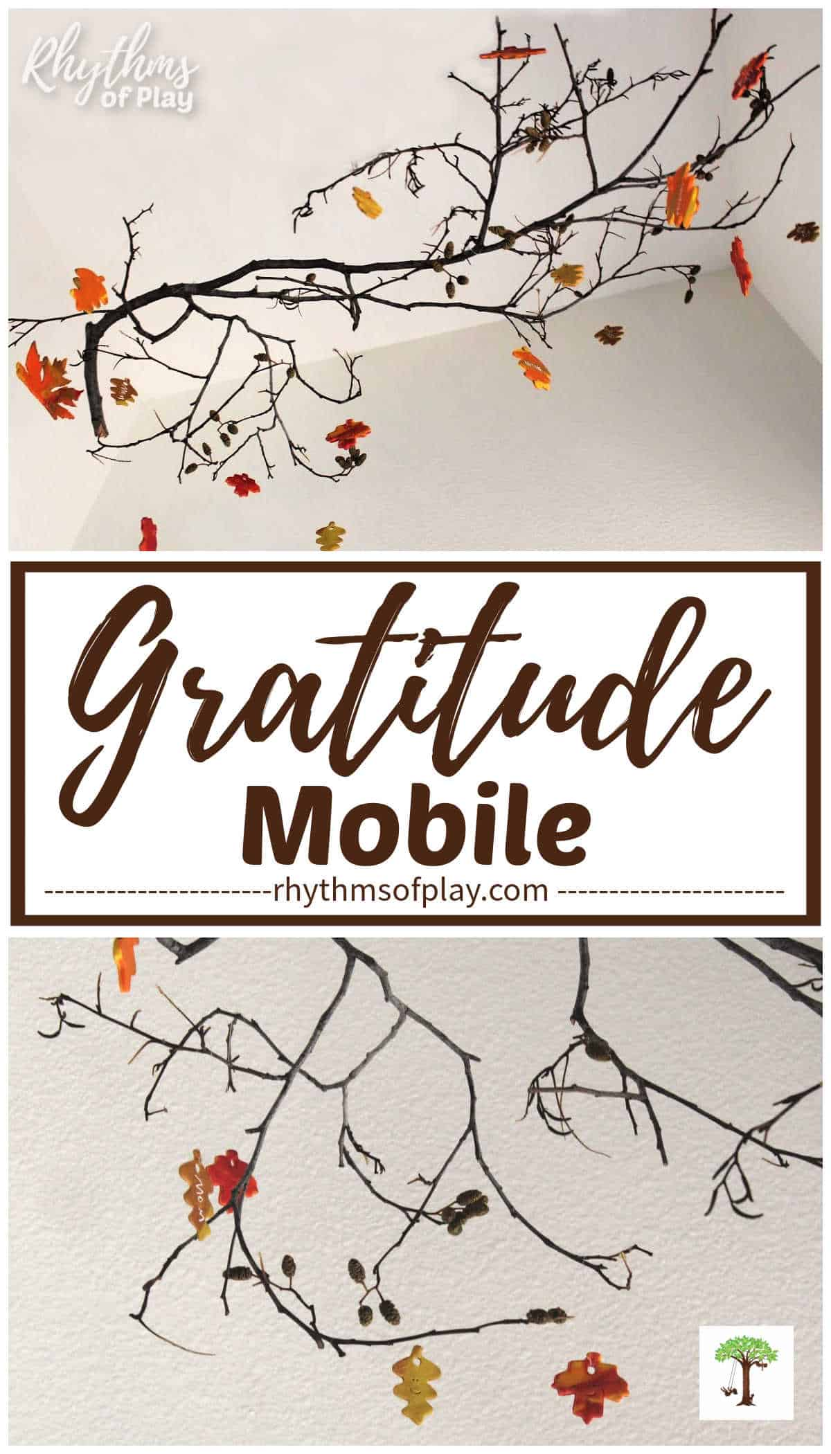 gratitude mobile with hanging clay thankful leaves pictured from two angles