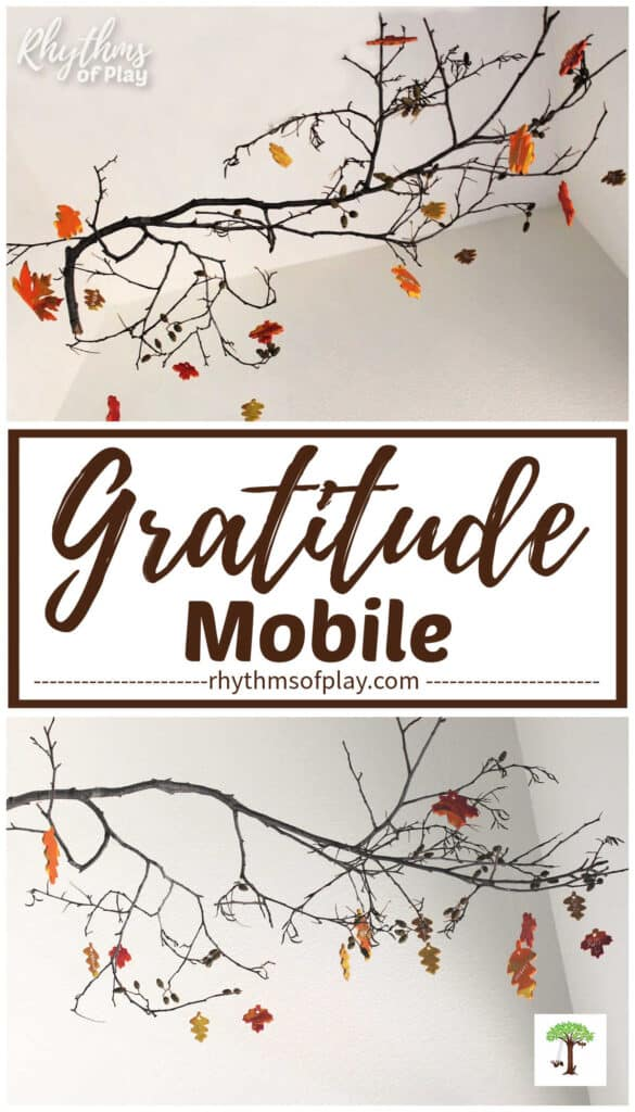 DIY gratitude mobile craft for Thanksgiving