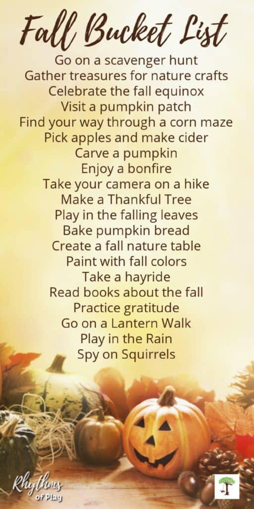 fall bucket list of fun fall activities for kids