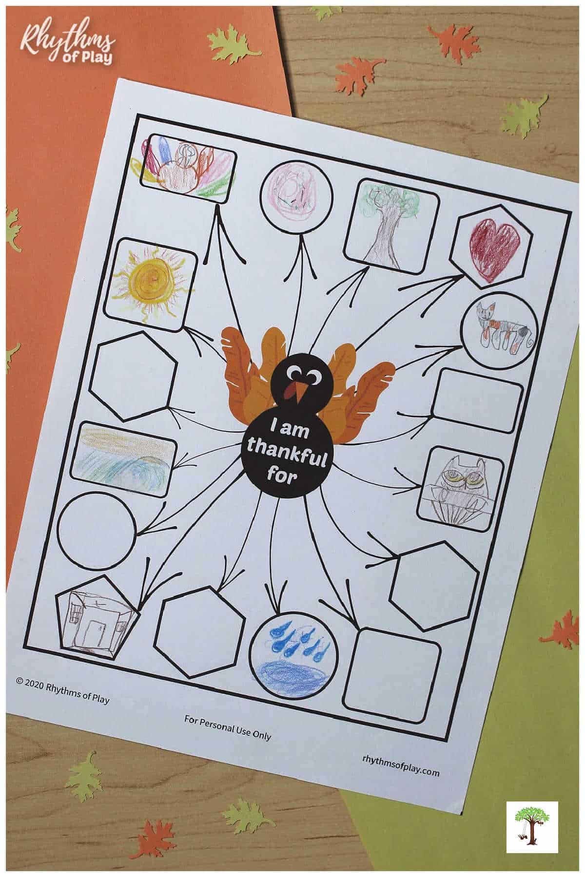printable thankful turkey activity for Thanksgiving