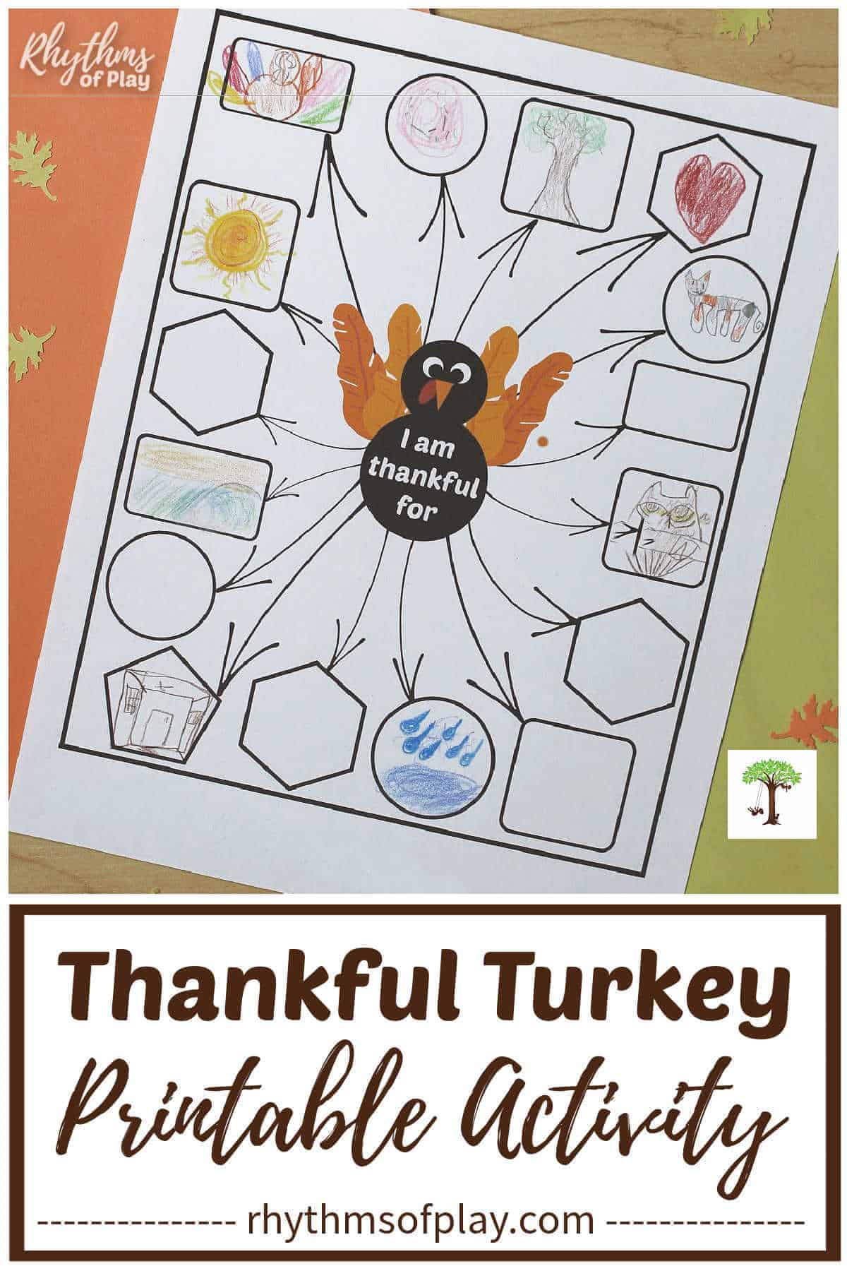 "Photo of thankful turkey printable with items drawn in the ""I am thankful for"" boxes."