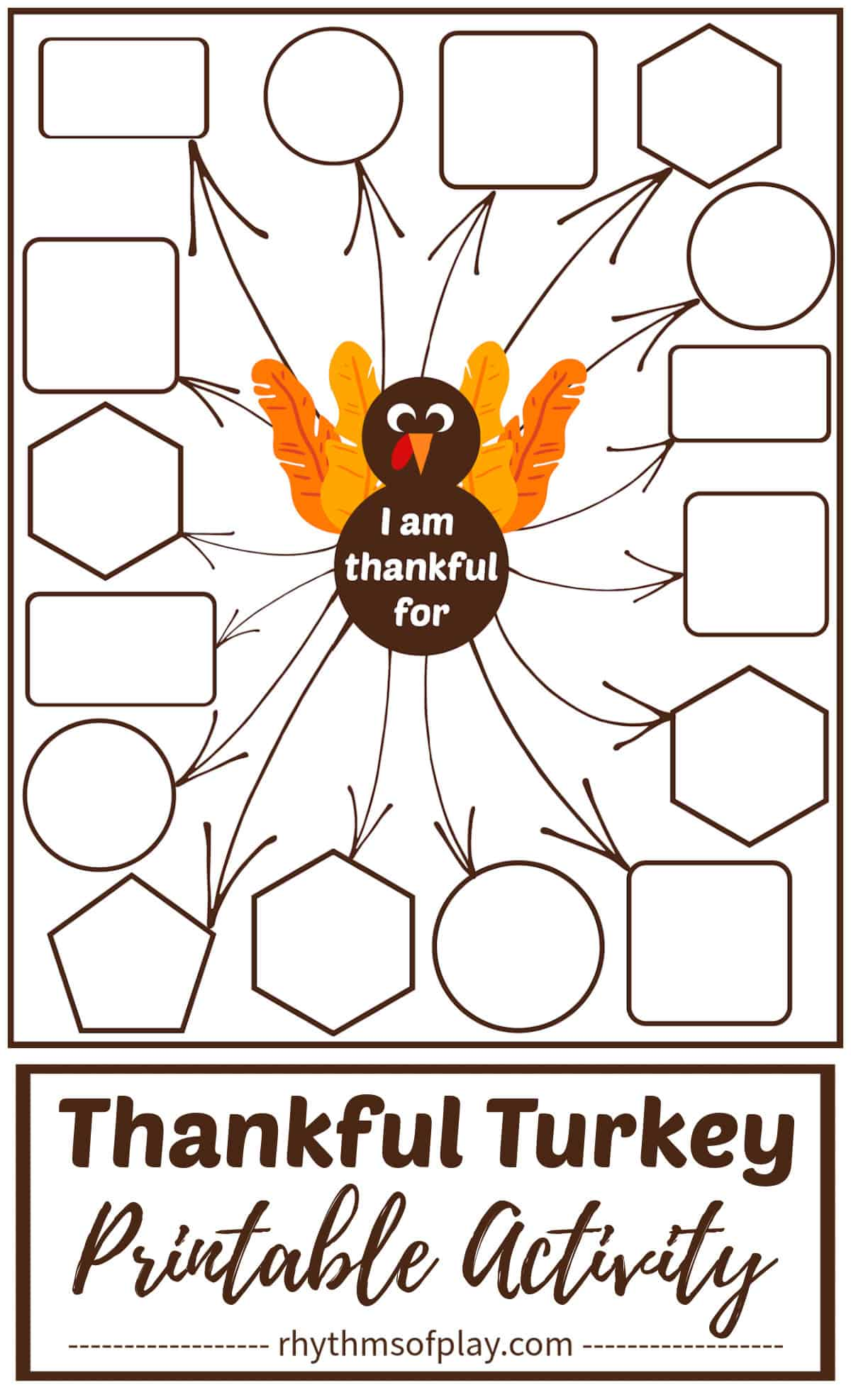 I am thankful for printable thankful turkey for Thanksgiving