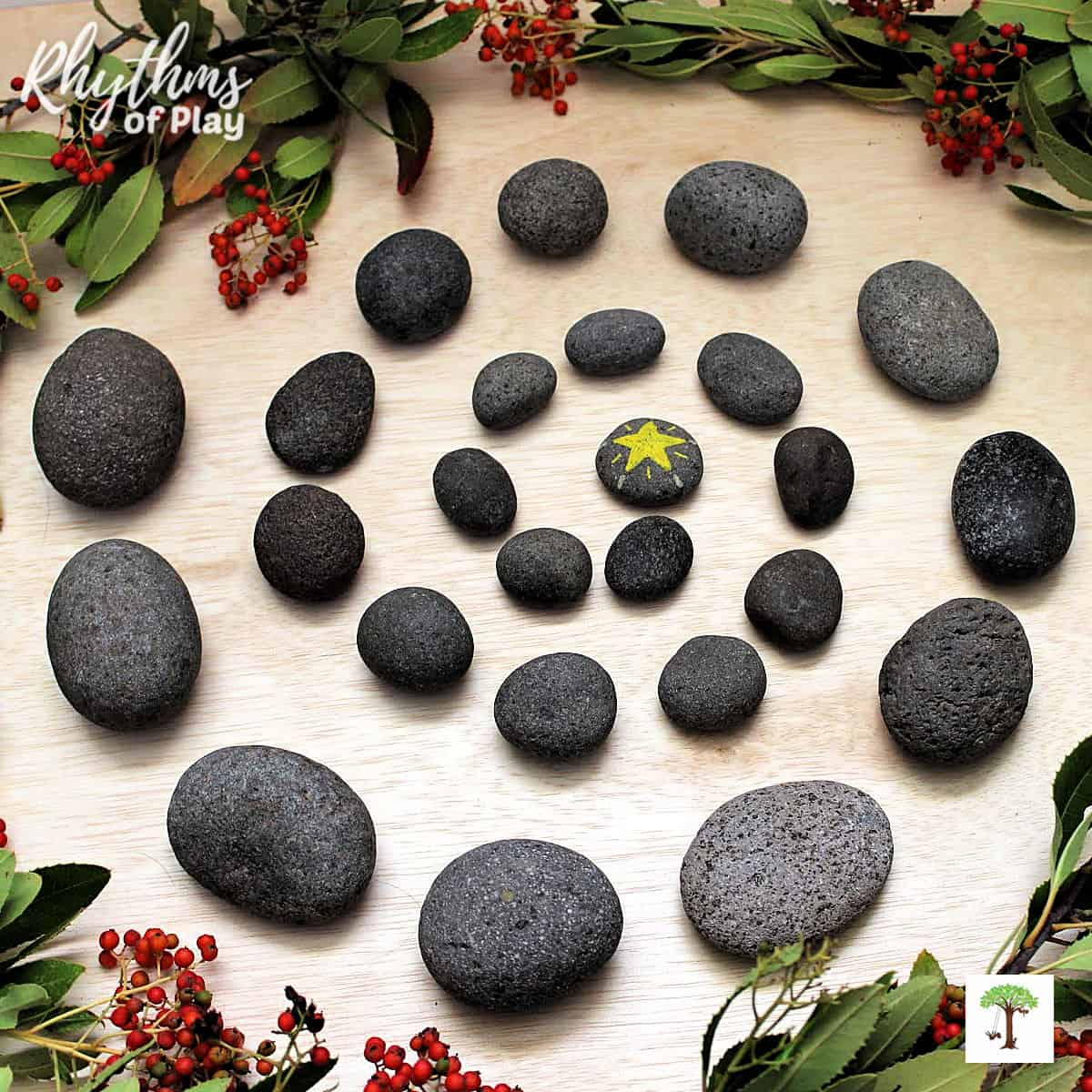 Christmas countdown advent calendar handmade in the shape of a spiral with stones.
