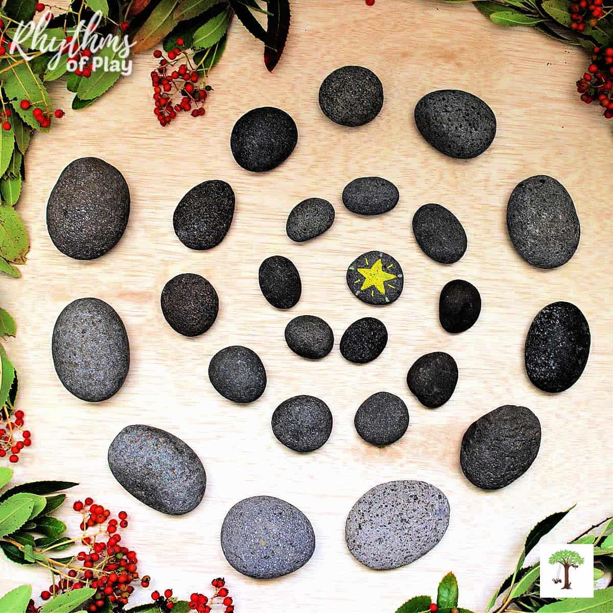 stone advent spiral Christmas countdown calendar