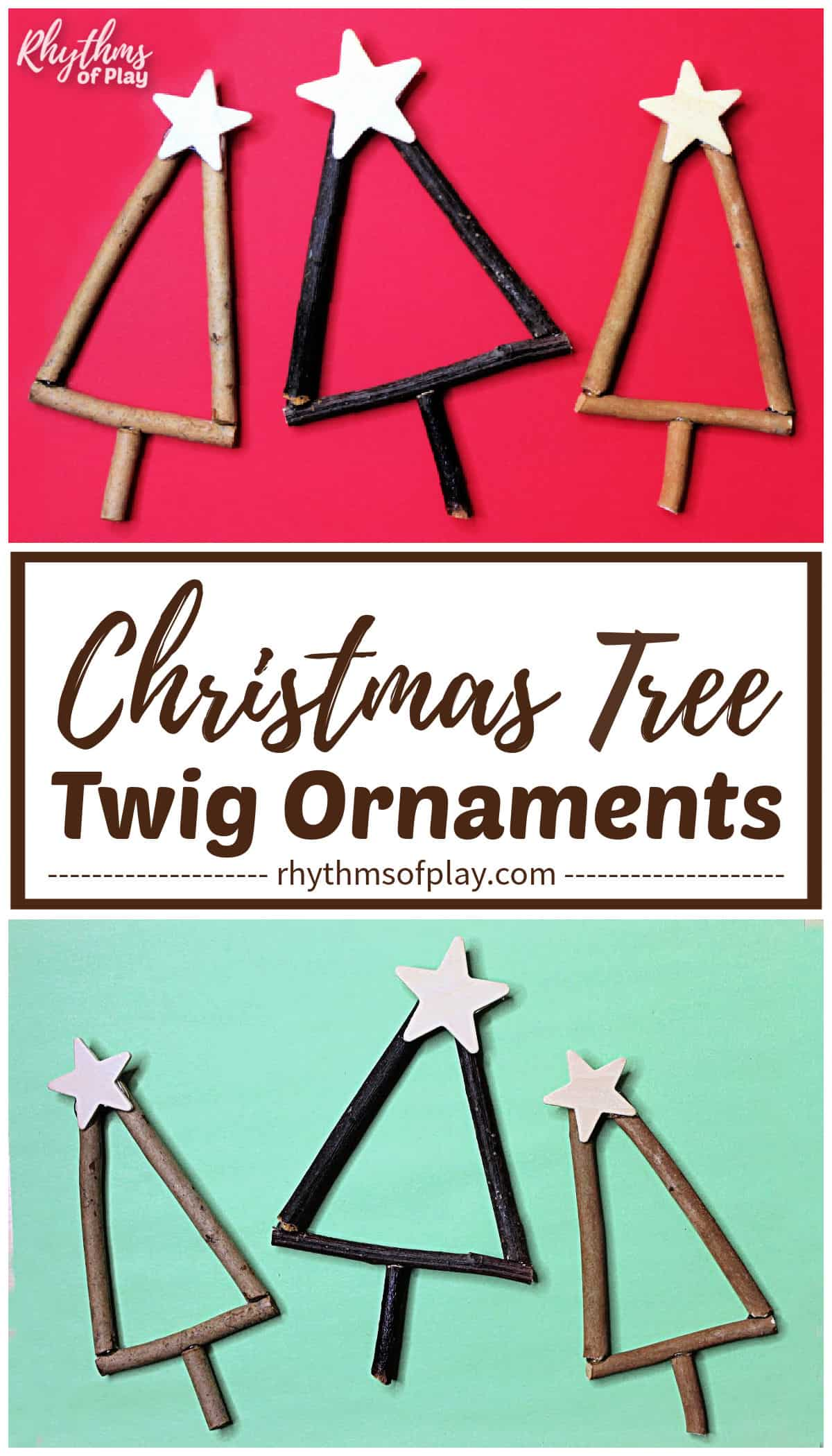 Christmas tree twig ornaments with a wooden star on top