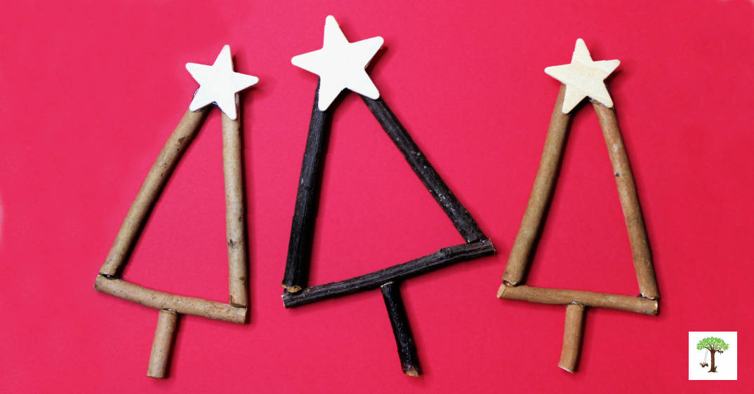 how to make rustic twig Christmas tree ornaments