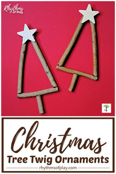 twig Christmas tree ornaments with a wooden star on top