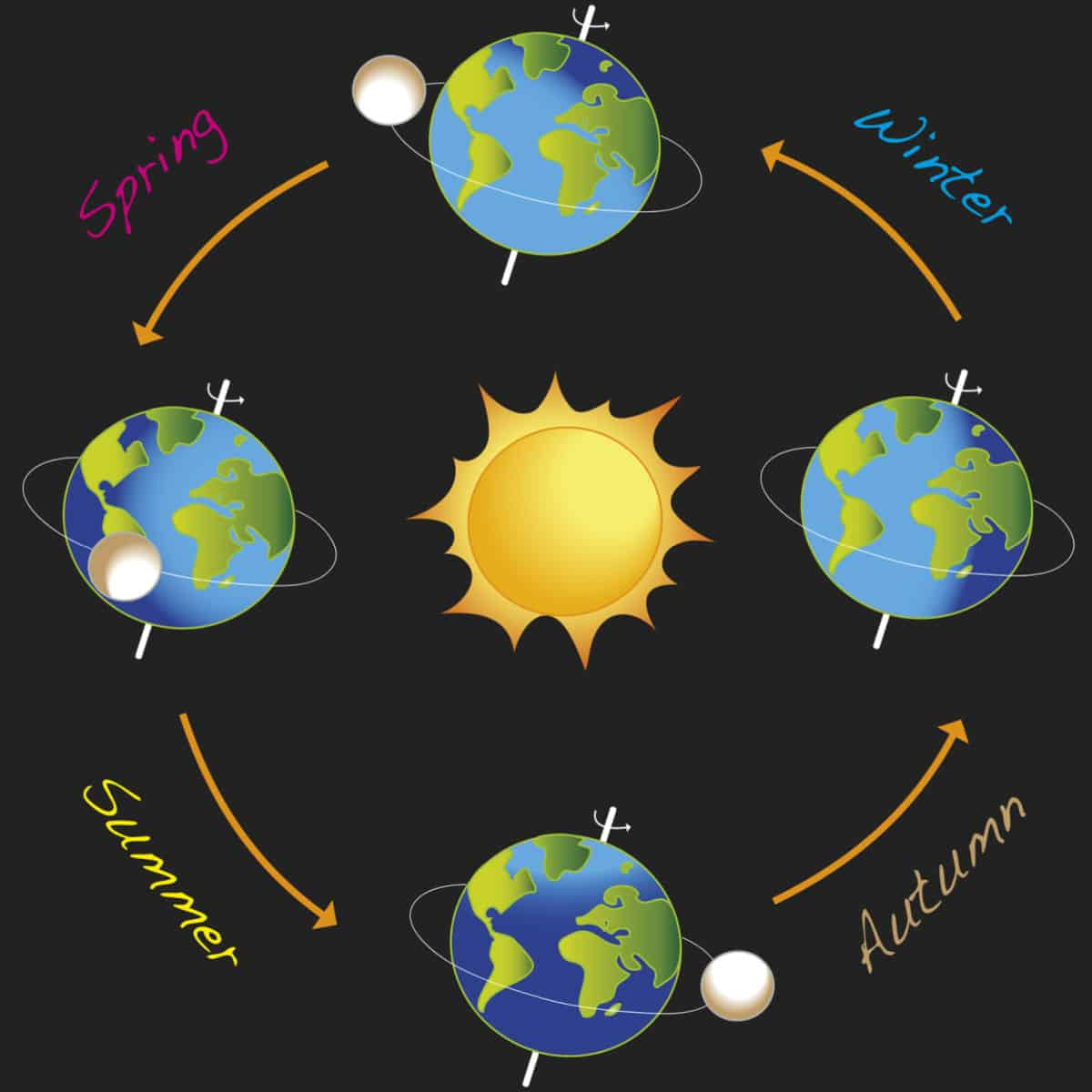 winter solstice graphic of the sun and earth through the solstices and equinoxes