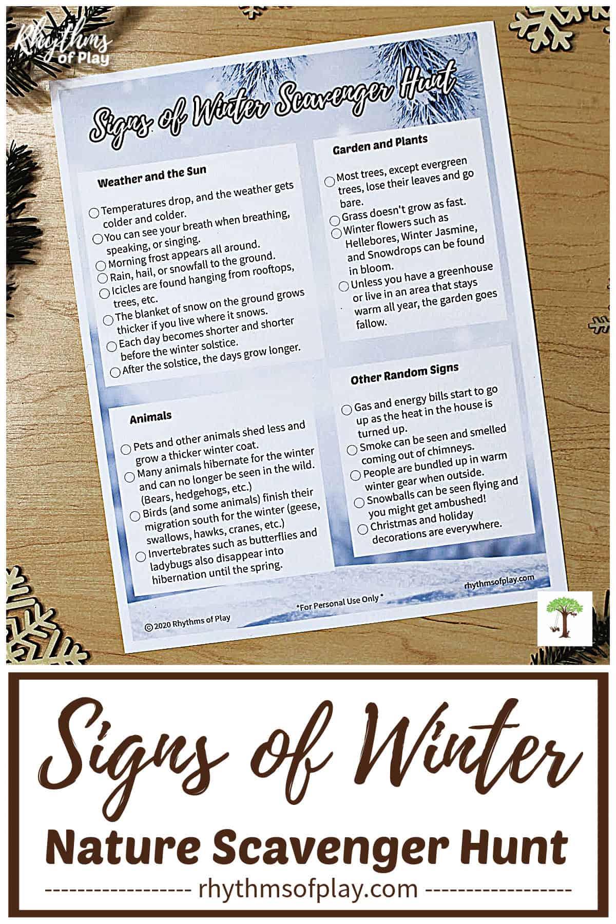 "nature scavenger hunt printable for kids ""signs of winter"""