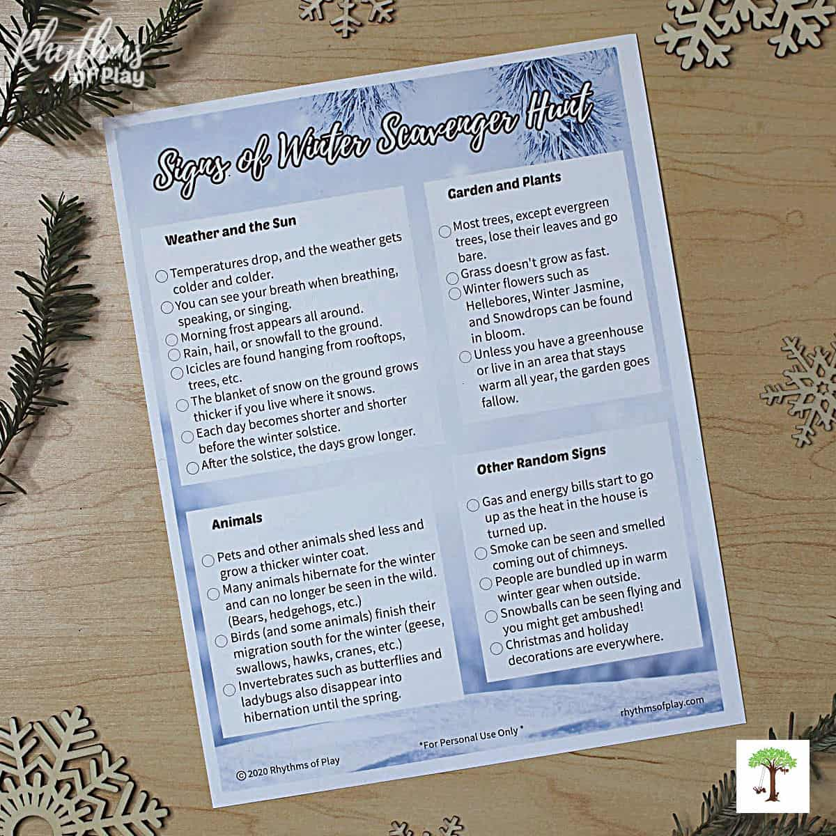 """picture of the """"signs of winter"""" nature scavenger hunt printable"""