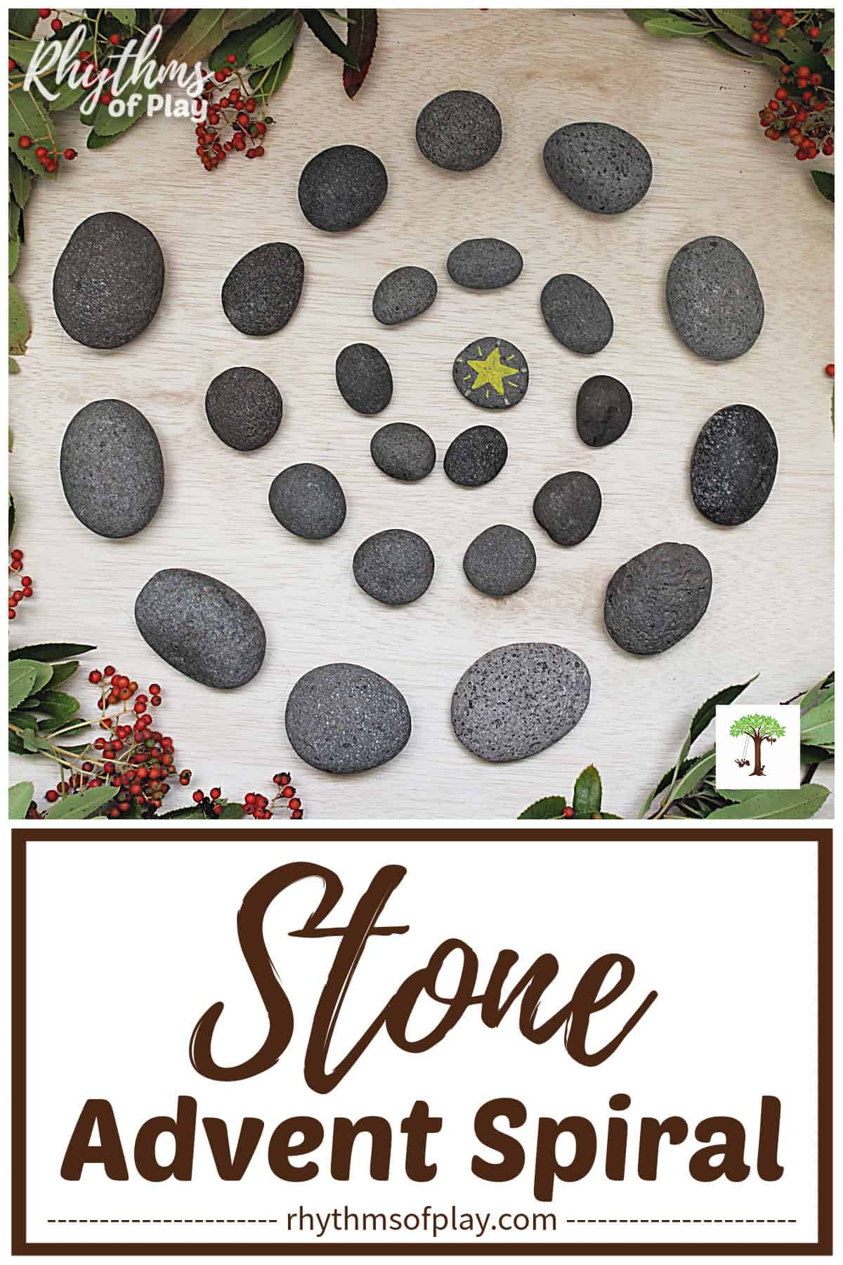 Advent spiral made with stones