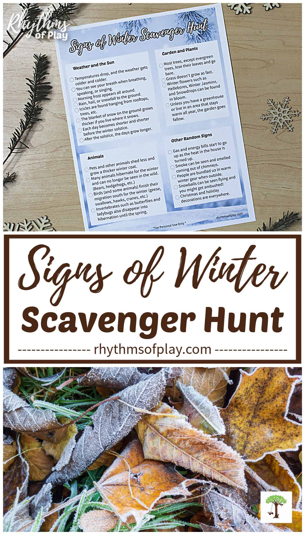 nature scavenger hunt signs of winter printable with frosty fall leaves