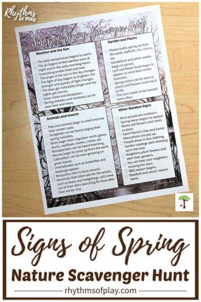Signs of spring scavenger hunt printable for kids (and adults) pictured here.