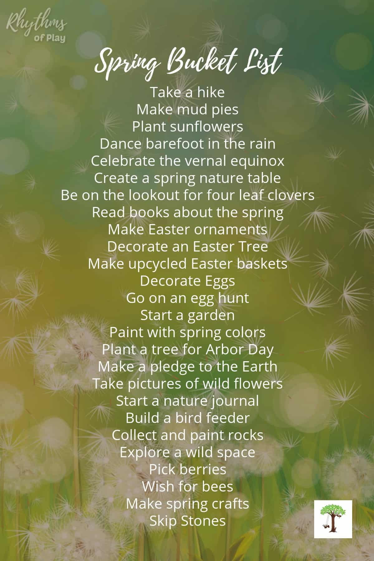 Spring bucket list of fun spring activities for kids with how-to's