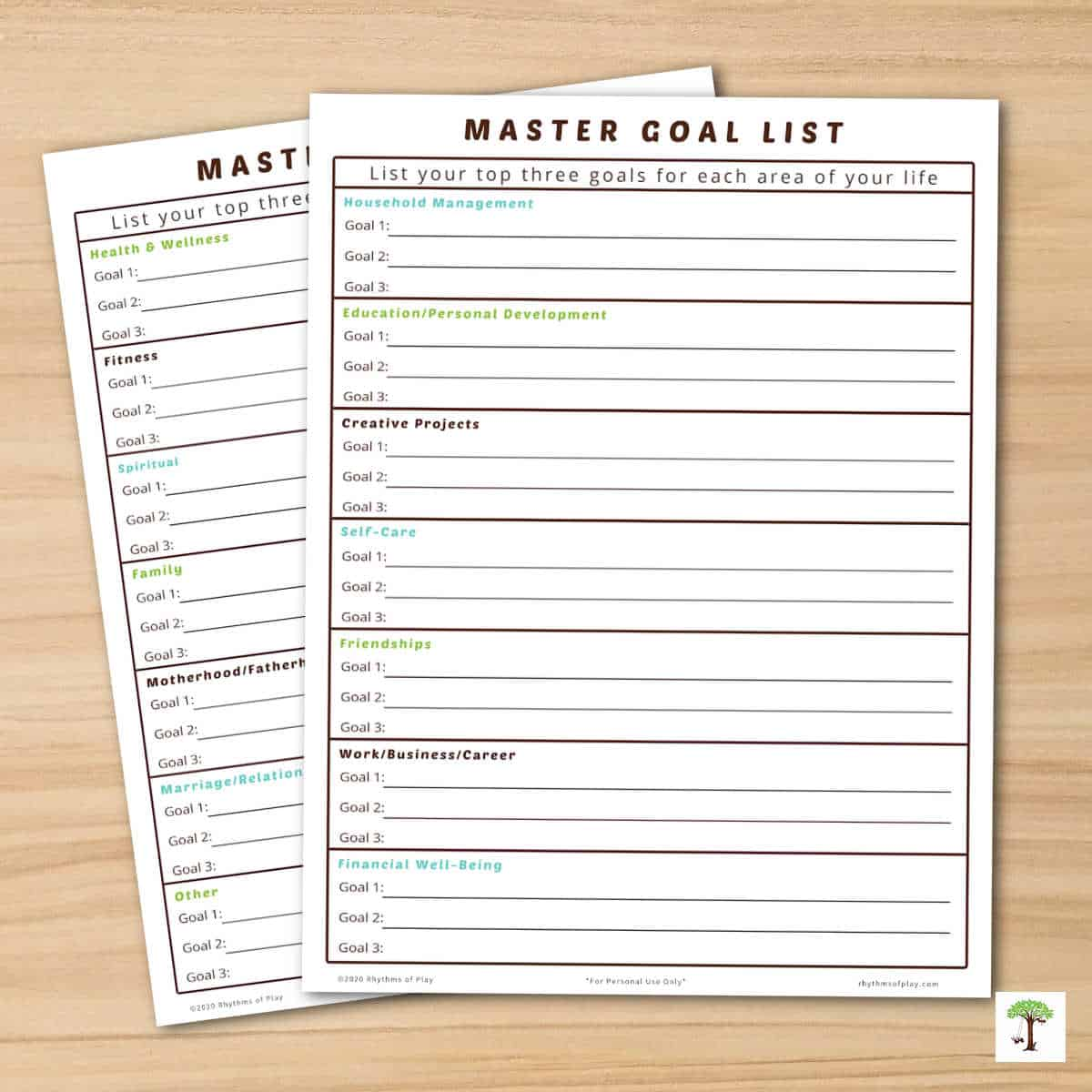 """image of """"Master Goal List"""" by Nell Regan of Rhythms of Play"""
