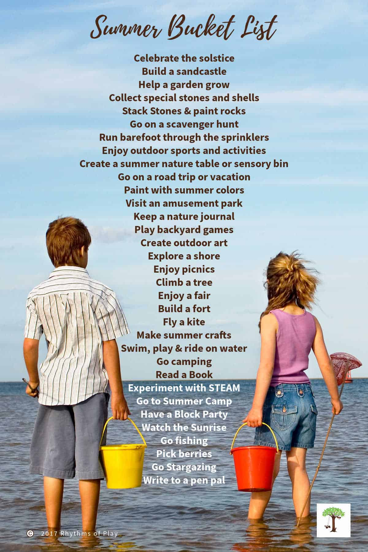 Boy and a girl standing in the water with summer bucket list of fun activities