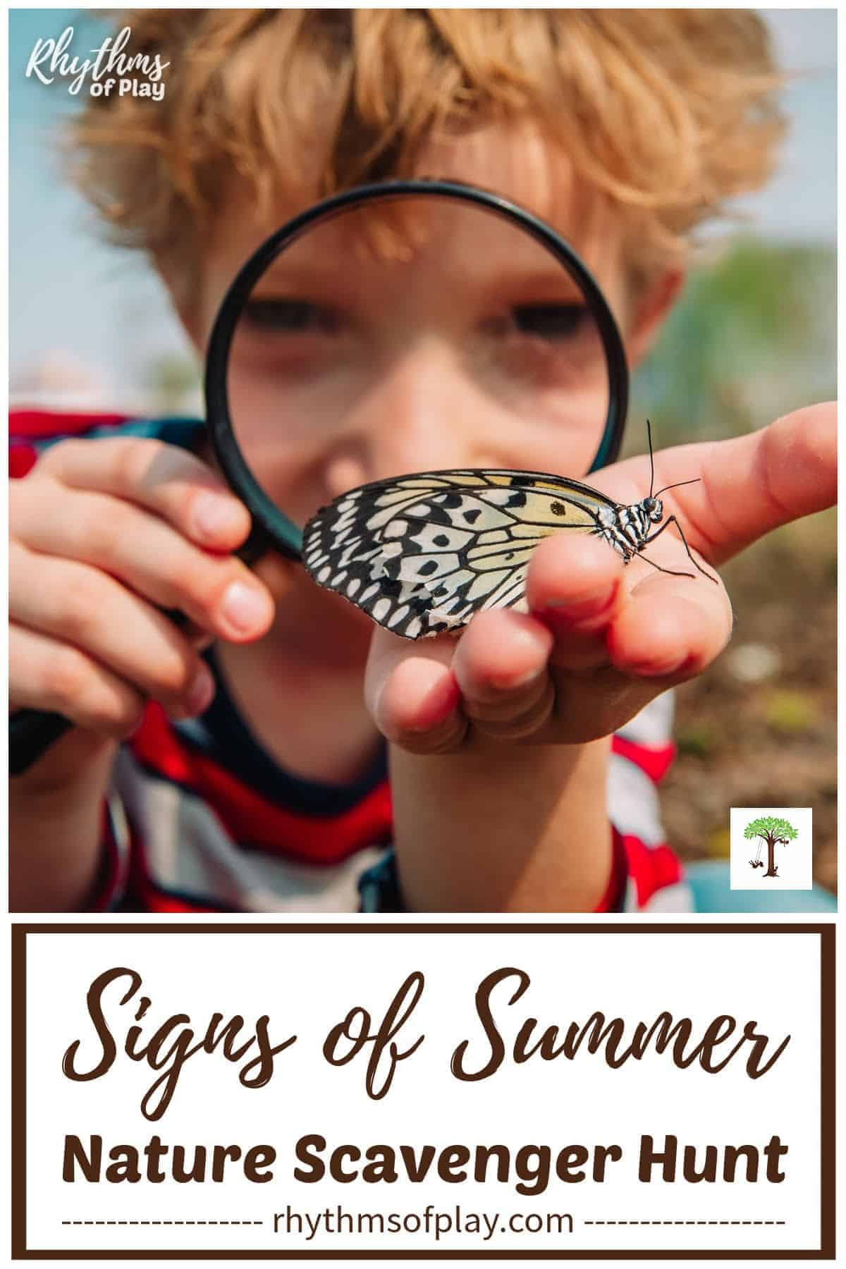 search for signs of summer - boy looking through magnifying glass at butterfly
