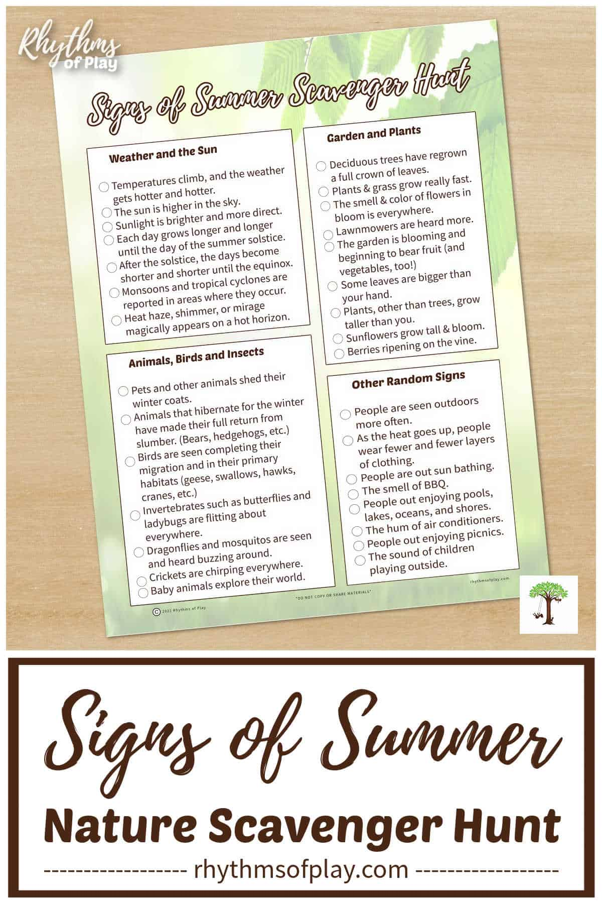 Photo of the first signs of summer nature scavenger Hunt printable for kids and adults