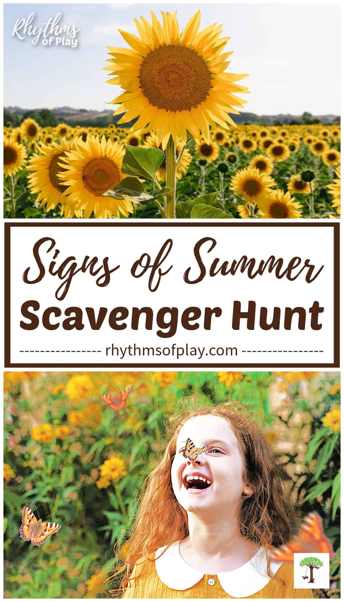signs of summer; a sunflower taller than the rest and a butterfly on a girls nose in a field of flowers.