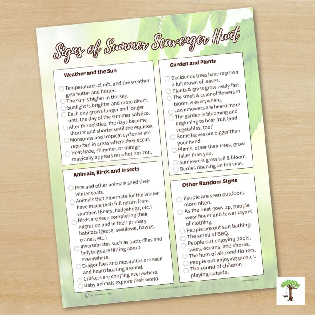 """Picture of """"Signs of Summer printable Nature Scavenger Hunt"""""""