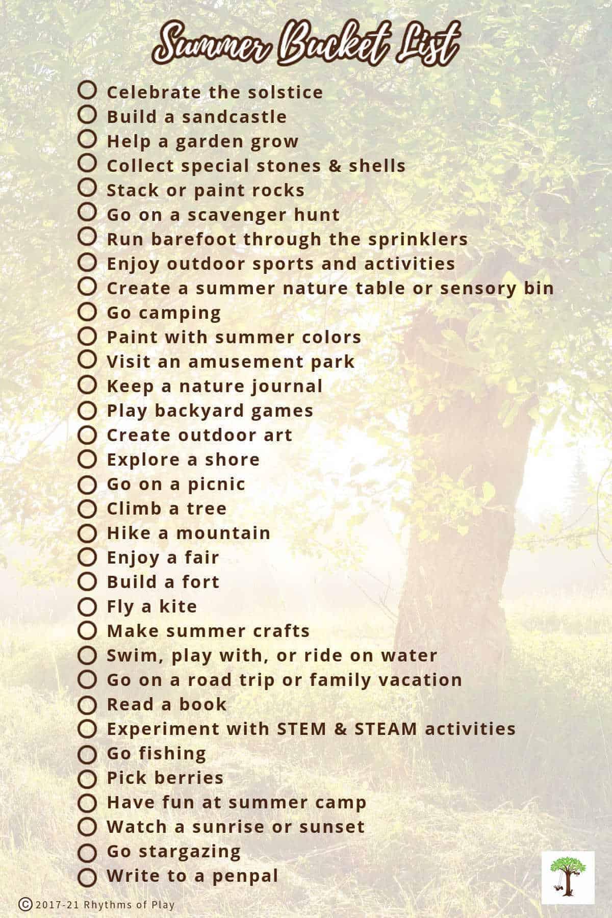 Bucket List printable of Fun Summer Activities for Kids
