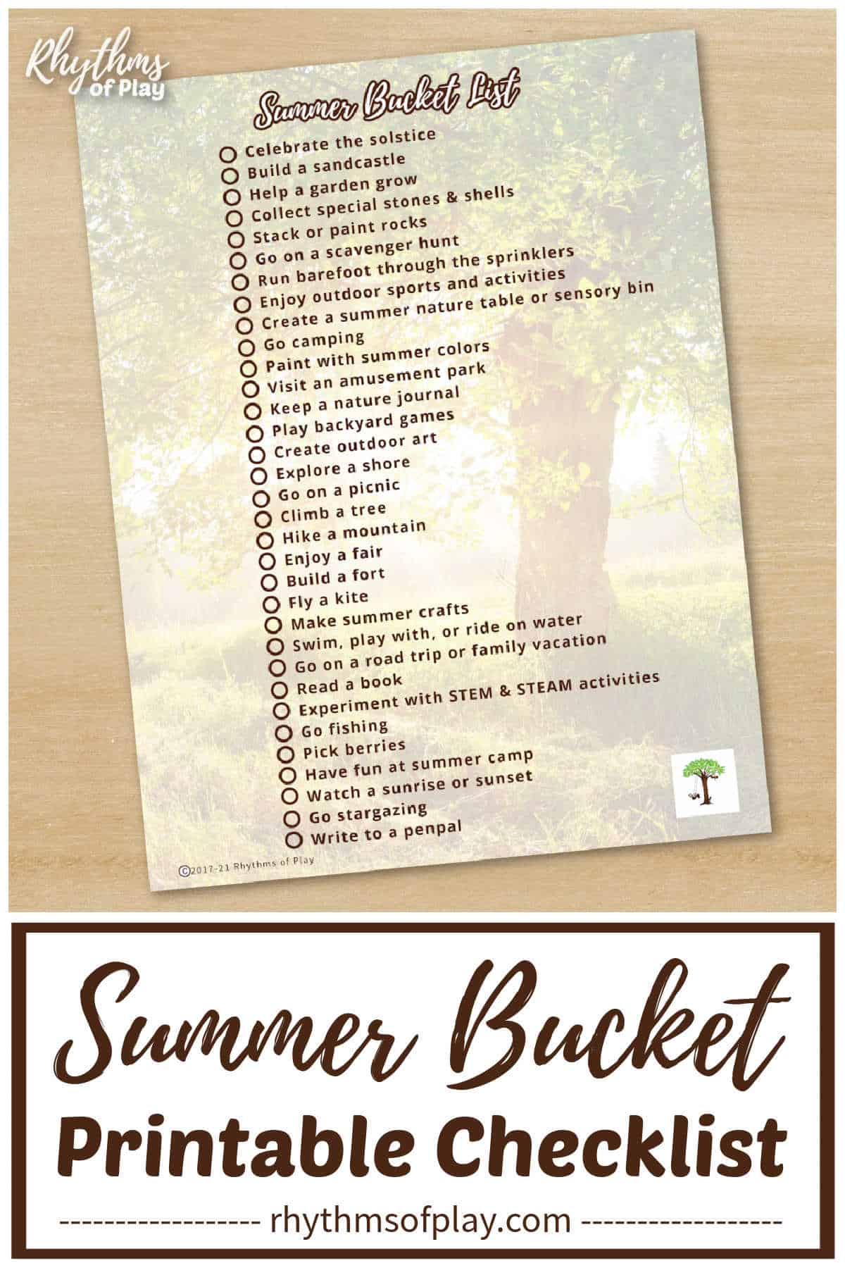 image of summer bucket list printable checklist for kids (and adults, too)!
