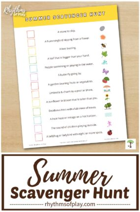 printable summer scavenger hunt for toddlers, preschoolers, kindergarteners and elementary-aged kids