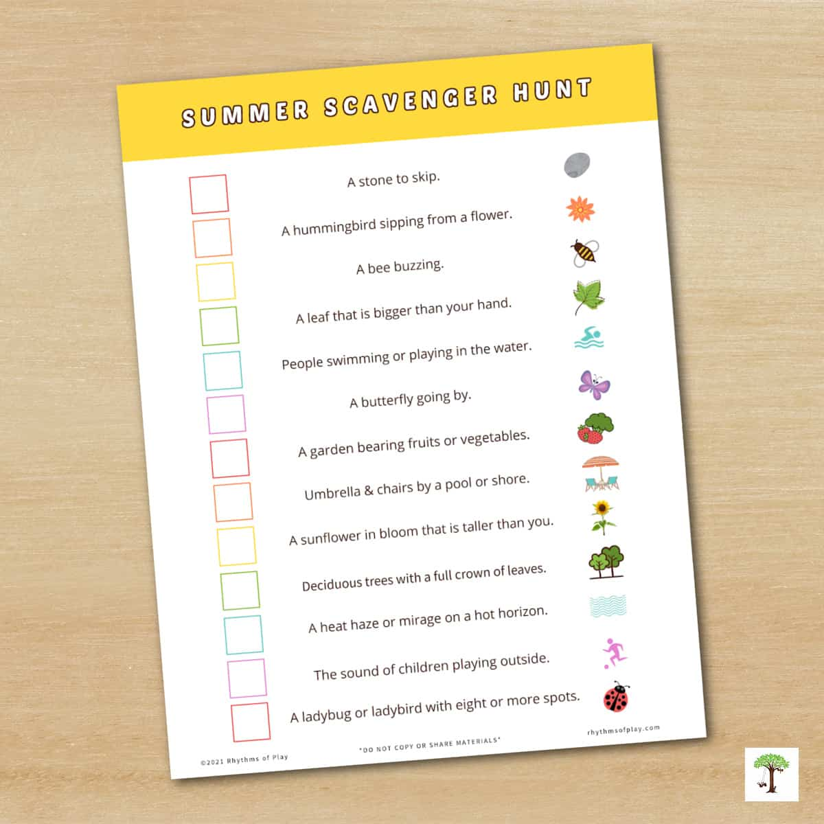 Summer nature scavenger hunt idea for toddlers, preschoolers, and up