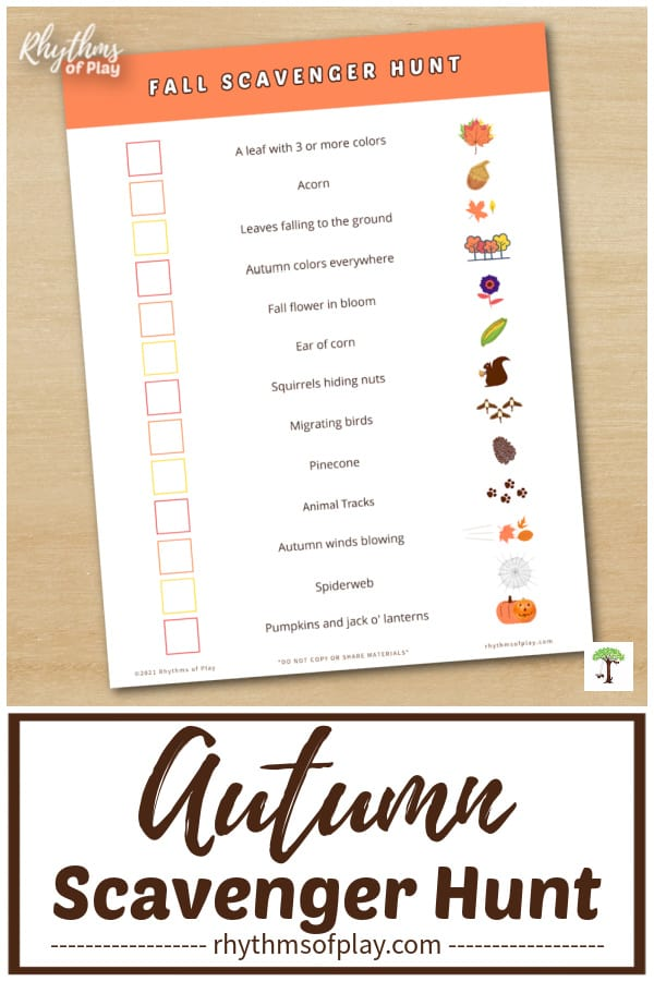 fall scavenger hunt printable siting on a table