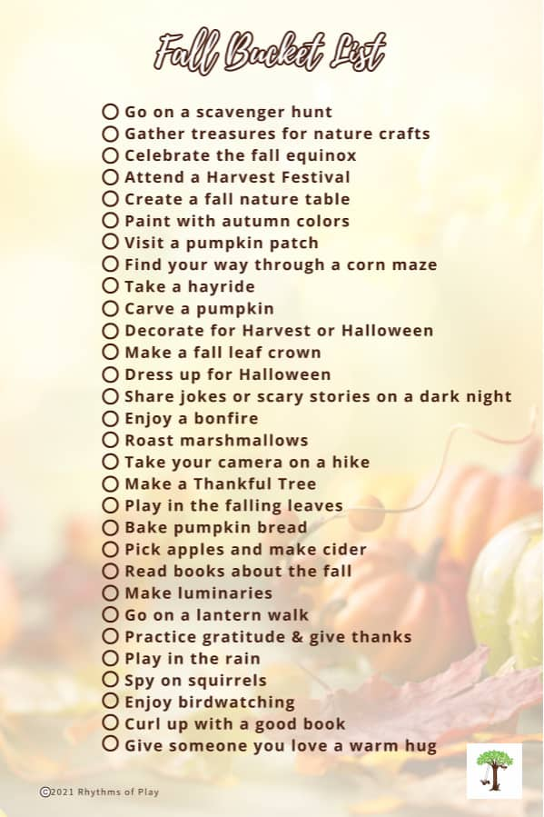 fall bucket list printable filled with fun autumn-themed activities and project tutorials
