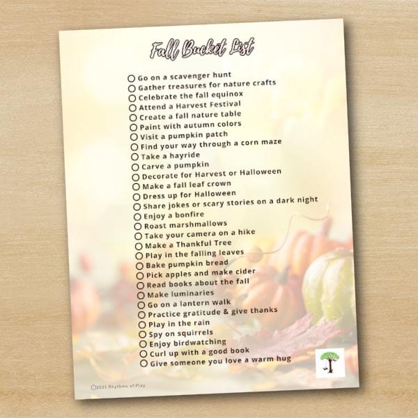 fall bucket list printable with autumn-themed activities