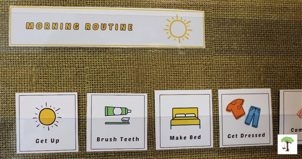 printable visual activity cards on a visual routine chart (pocket chart)