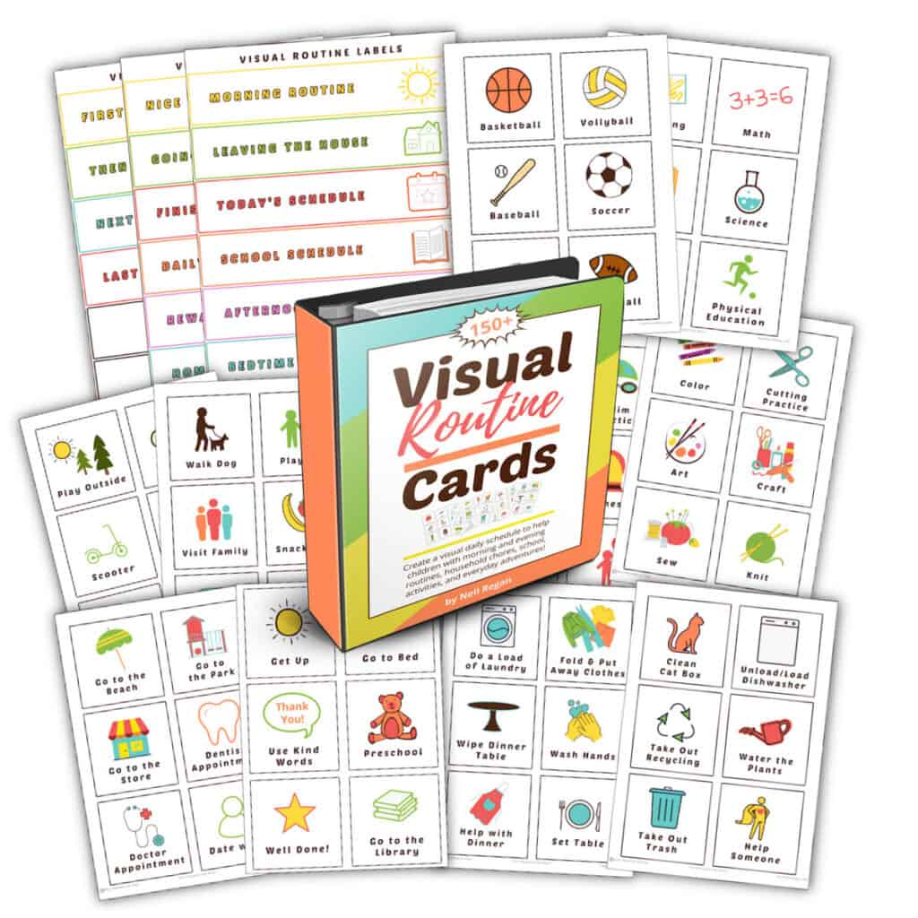 visual routine cards printable set of activity cards and labels for pocket chart