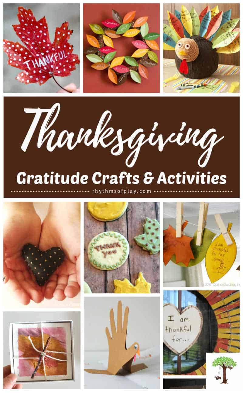 pictures of Thanksgiving gratitude crafts and activities for kids (and adults) listed in post